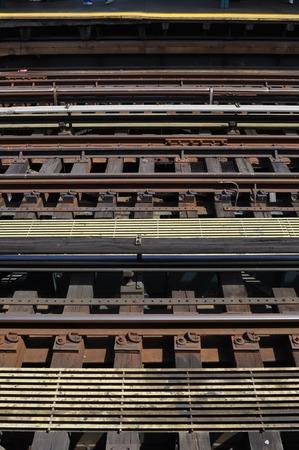 railroad tracks: Parallel railroad tracks Stock Photo