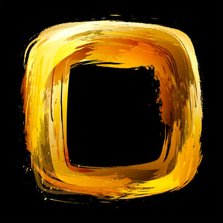 bush fire: Gold. Abstract design element. Square frame painted with brush strokes.   Stock Photo