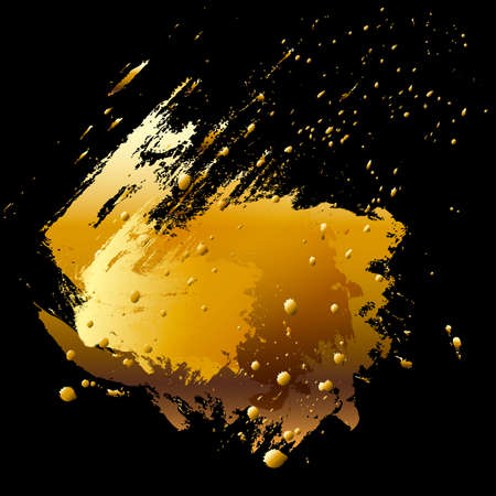 Vector brush stroke and paint splashes. Abstract design element. Gold. photo