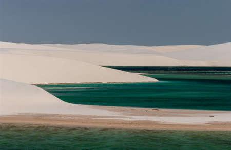 White sand dunes and seasonal lagoons in the Lençois Maranhenses National Park, Maranhão, Brazil Editorial