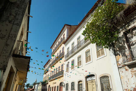 Sao Luiz, Maranhao. Old facade of the buildings in the historic center, with windows, doors and tiles from the Brazilian colonial period.