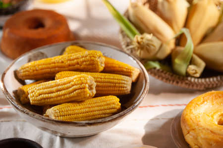 Boiled corn. Typical foods from the June festivities in northeastern Brazil