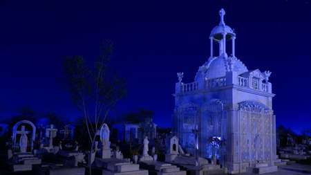 묘지에서 블루 저쪽 크립트 스톡 콘텐츠