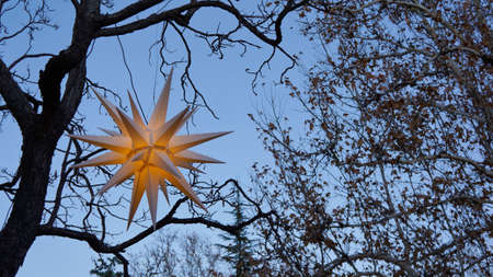 A decorative star lantern hanging outside in the trees on a dusky evening. Stock Photo