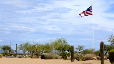 USA Flag High Flying in the Desert Banque d'images