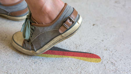 german mark: Leaving Mark Footstep Germany Stock Photo