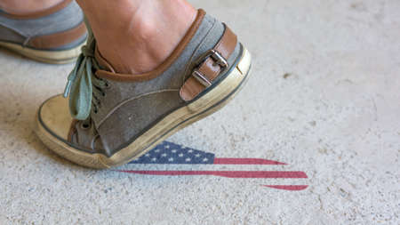 footstep: Leaving Mark Footstep USA Stock Photo