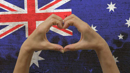 Hands Heart Symbol Australian Flag