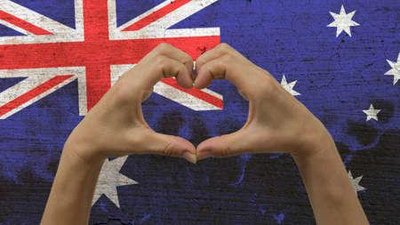 Mains Coeur drapeau australien