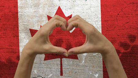 Mains Coeur drapeau canadien Banque d'images