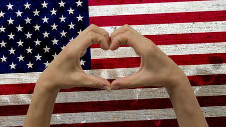 Mains Coeur de drapeau des Etats Banque d'images