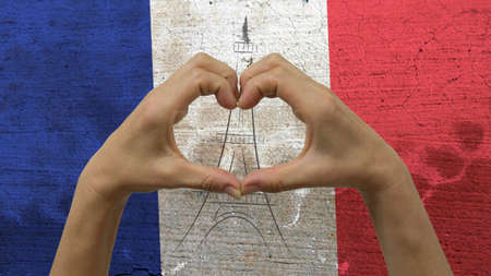 Hands Heart Symbol French Flag Stock Photo
