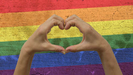 Hands Heart Symbol LGBT Flag