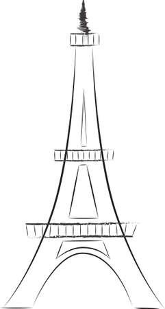 Tour Eiffel Sketch Illustration