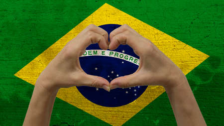 Hands Heart Symbol Brazilian Flag
