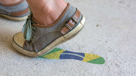 Leaving Mark Footstep Brazil Stock Photo
