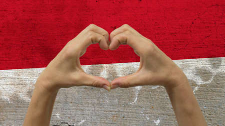 With a stylized Monaco flag background an anonymous persons hands being held in the form of a heart, symbolizing love and patriotism for Monaco.