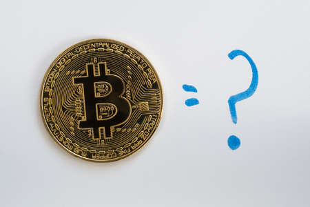 Bitcoin BTC cryptocurrency coin on a white background with a hand drawn blue question mark.