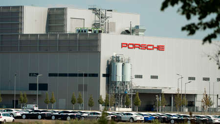 SCHKEUDITZ, GERMANY - JUL 18, 2019: Porsche automobile manufacturing facility in Schkeuditz Germany.