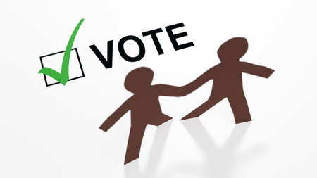 Two paper people of color with a vote checkbox and a green checkmark in a 3d illustration.
