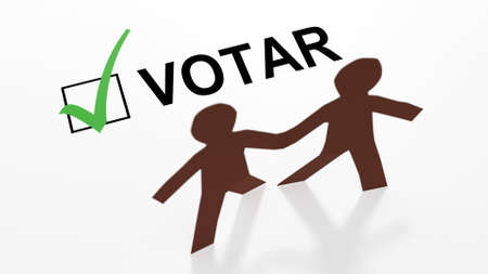 Two paper people of color with a Spanish votar checkbox and a green checkmark in a 3d illustration. Reklamní fotografie