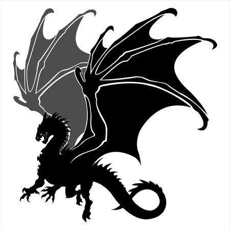 draak, silhouet, tattoo, legende, dier, vleugel, staart, klauw, dragonder Stock Illustratie