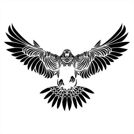 falcon,eagle,hawk,black,white,tattoo,details,bird,wing Ilustracja