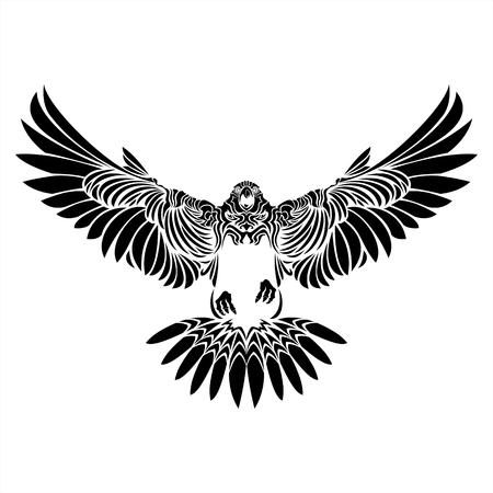 falcon,eagle,hawk,black,white,tattoo,details,bird,wing Stock Illustratie