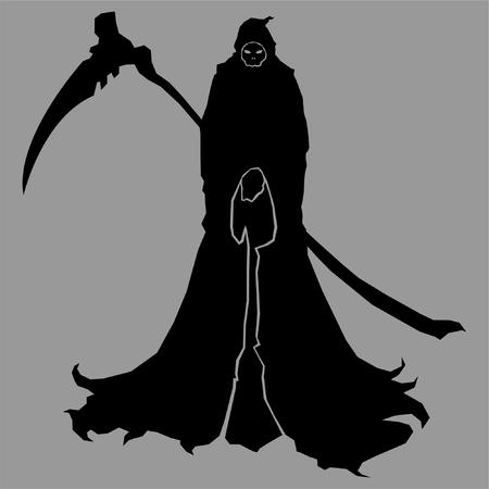 reaper,silhouette,death,dead,tattoo,scythe,black,grimm,vector,illustration