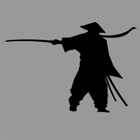 samurai,silhouette,ninja,ronin,shinobi,style,tattoo Illustration