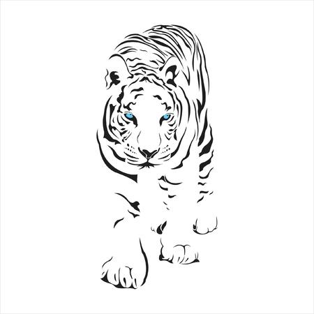 Tiger,silhouette,details,lion,hunter,mammal,stripe,tattoo,black,white,blue eyes.