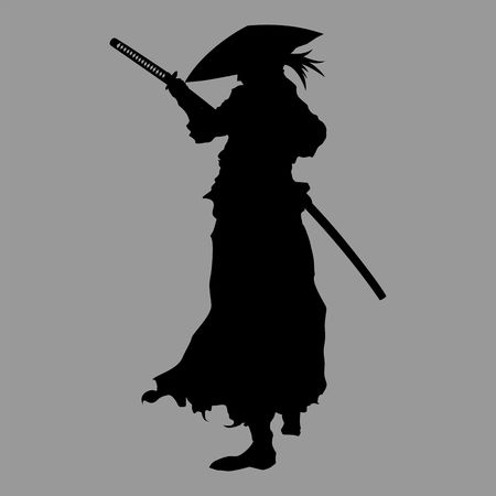 Silhouette of a samurai warrior with japanese katana