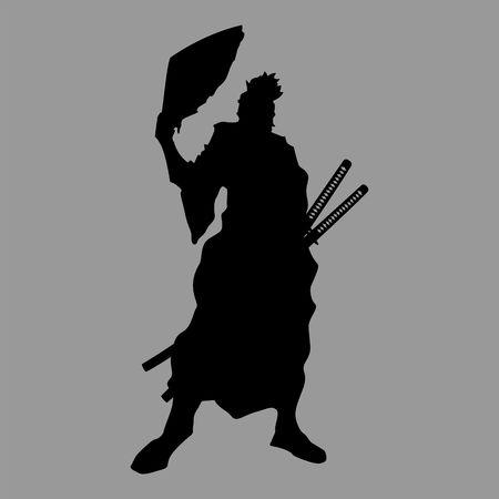 A samurai silhouette warrior sword ninja japanese katana Ilustrace