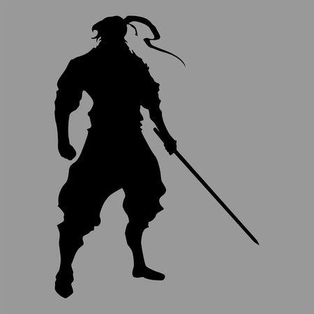 A samurai silhouette warrior sword ninja japanese katana on a plain background.