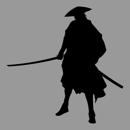Silhouette of a samurai warrior with japanese katana
