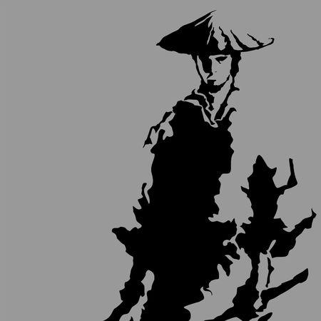 Samurai silhouette icon. Ilustrace