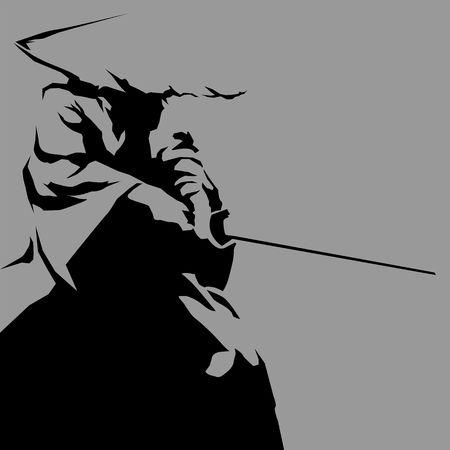 Samurai silhouette icon. 矢量图像