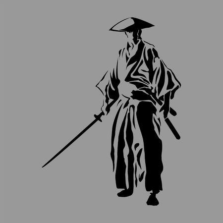 samurai silhouet strijder zwaard ninja japanse katana Stock Illustratie