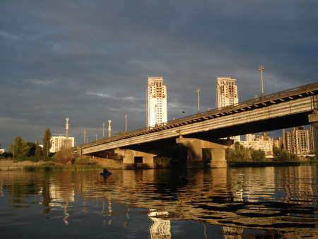 sity: sun sity (Patons bridge in Kiev) Stock Photo