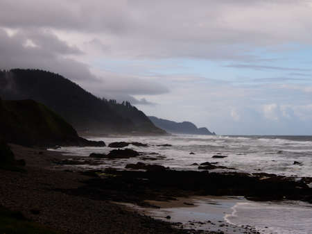 pacific northwest: Rocky Shore and Mist, Pacific Northwest Stock Photo
