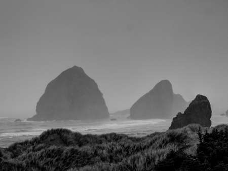 coastline: Mist and Ocean Cliffs along the Oregon Coastline in Black and White