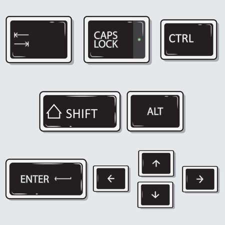 Illustration vector graphic of keyboard keys with flat style design Vector Illustration