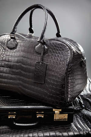 tooled: Leather bag lying on case