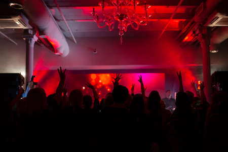Party disco silhouette dj people, color