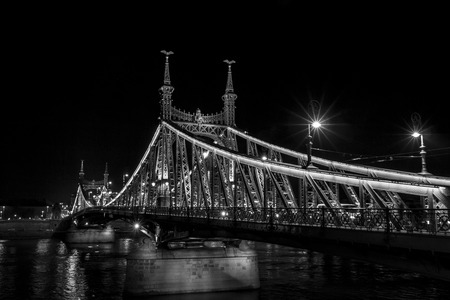 Liberty Bridge illuminated from the Buda side, looking over the Danube River Standard-Bild