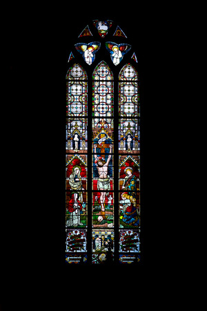 A stained glass window in a church in Norway