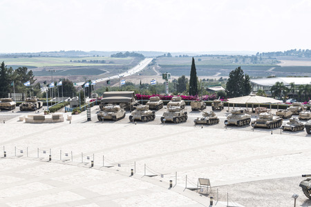 Row of tanks facing the courtyard at Latrun - side view