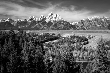 grandeur: Black and White Snake River and Grand Tetons (Landscape)