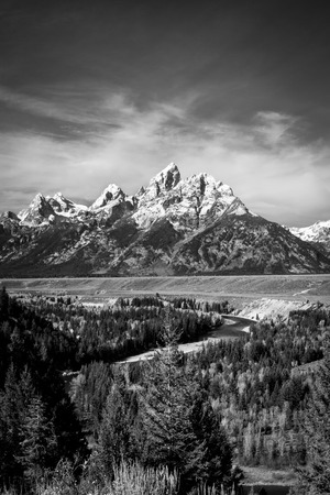 Black and White Snake River and Grand Tetons (portrait)