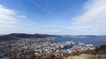 City and Port of Bergen, Norway, from Mount Floyen